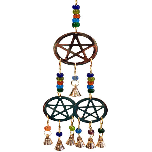 Three Pentacle Brass Bell Wind Chime.