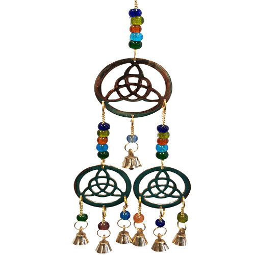 Three Triquetra Brass Bell Wind Chime 35cm.