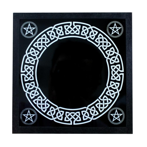 Black Scrying Mirror Glass 17cm