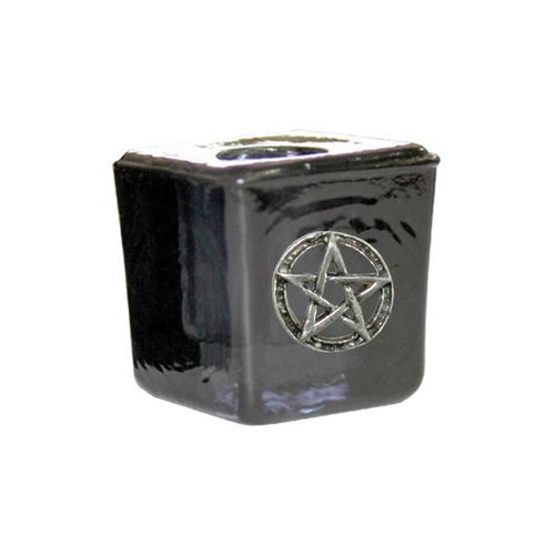 Pentacle Black Glass Chime Candle Holder 3cm