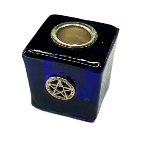 Pentacle Dark Blue Glass Chime Wish Candle Holder
