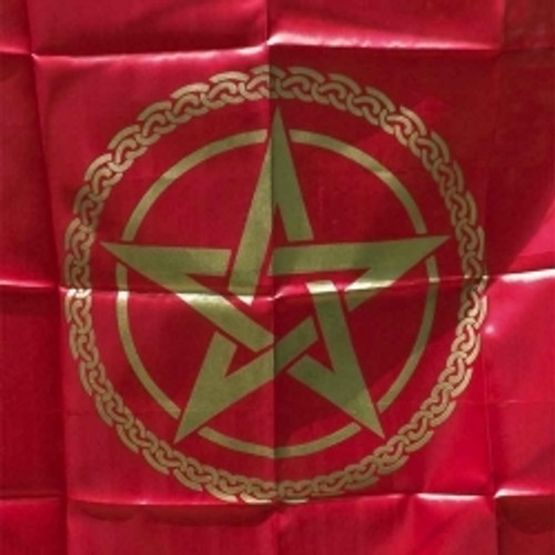 Red & Gold  Pentagram Altar or Tarot Cloth