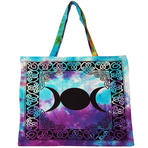 Triple Moon Tie-Dyed Tote Bag