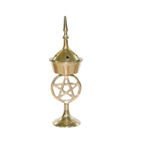 17cm Pentacle Brass Incense Burner