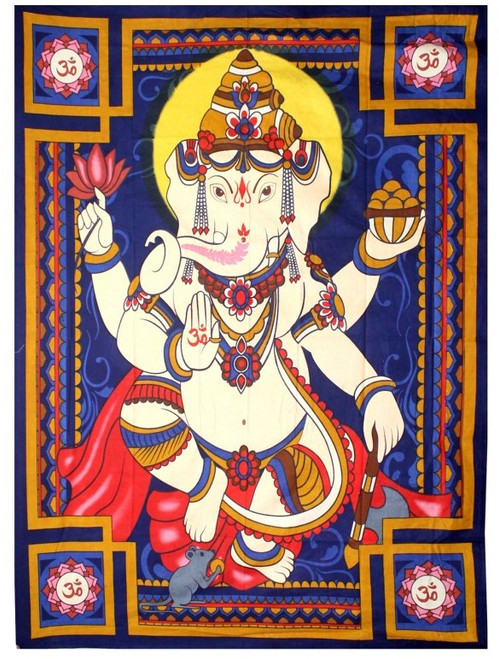 "Large Ganesh Wall Hanging / Tapestry  52"" x 76"" 100% Cotton"