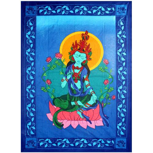Green Tara Tapestry 193cm x 132cm 100% Cotton