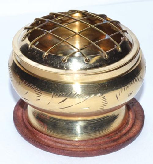Engraved Gold Toned Incense Burner