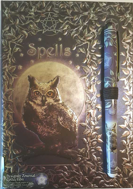 Luna Lakota Blank Owl Spell Book With Pen