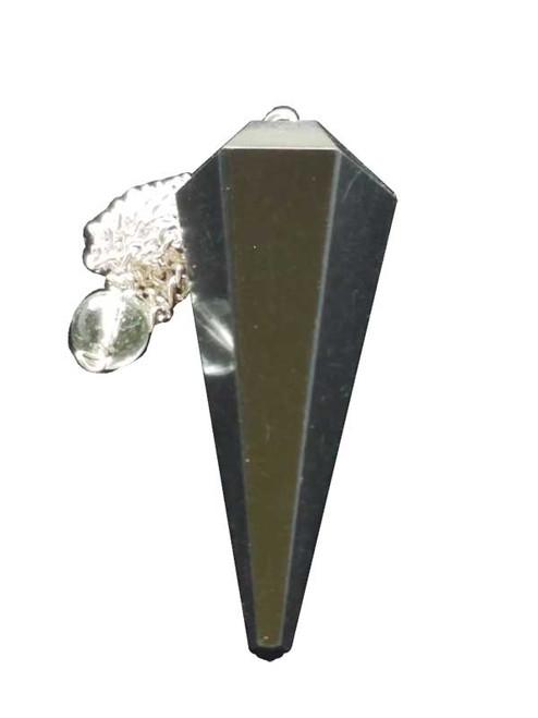 6 Sided Black Agate Pendulum