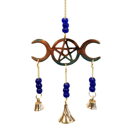 Triple Moon Pentagram Wind Chime Medium
