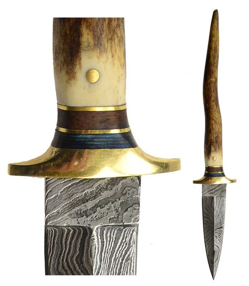 Bone Damascus Athame/Decorative Dagger