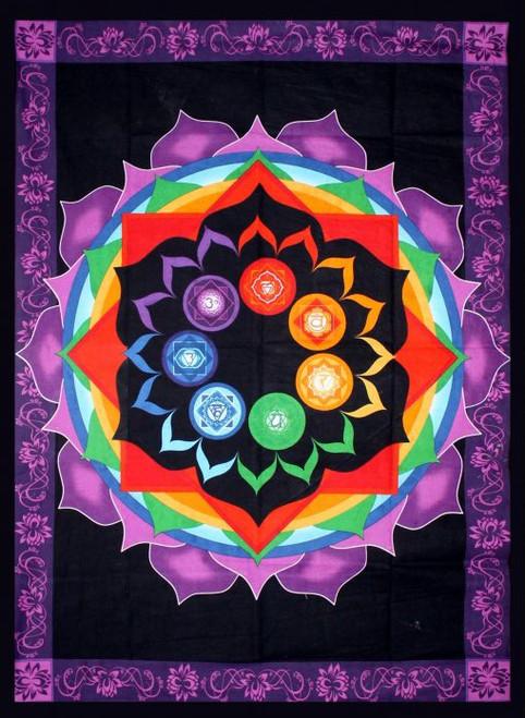 Rainbow Chakra Tapestry 193cm x 132cm 100% Cotton