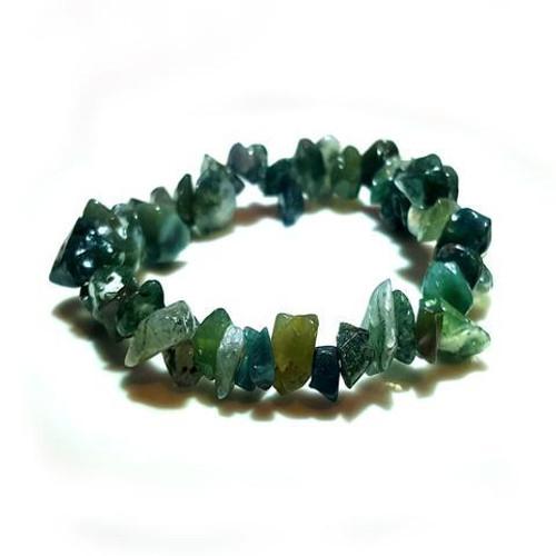 Moss Agate Gemstone Chip Bracelet