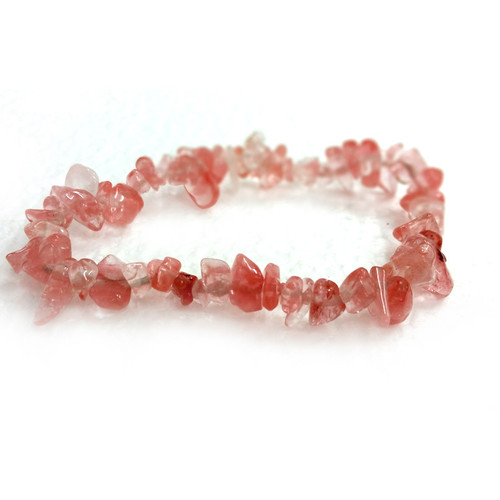 Cherry Quartz Gemstone Chip Bracelet