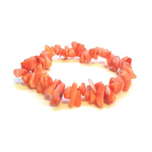Pink Coral Gemstone Chip Bracelet