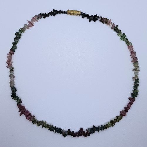 Mixed Tourmaline Gemstone Chip Necklace 41cm