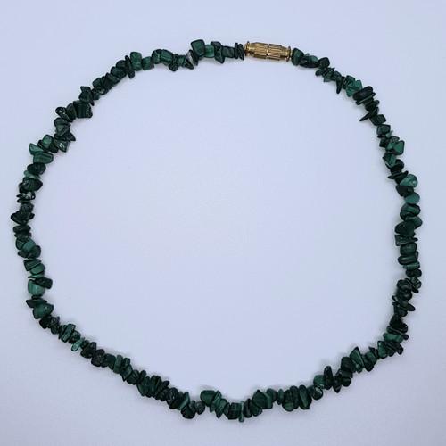 Malachite Gemstone Chip Necklace 39cm