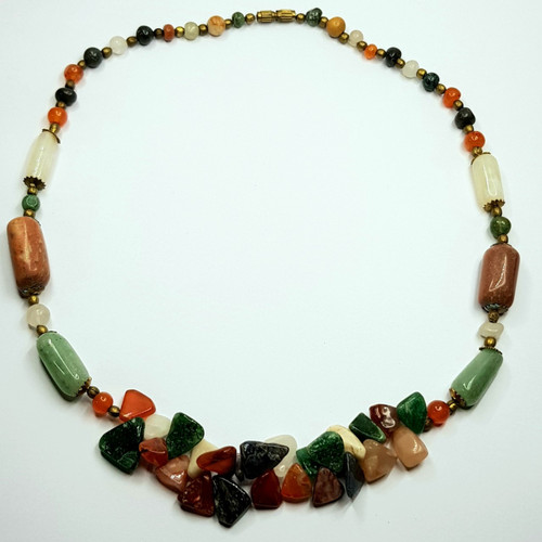Vintage Style Bead and Chip Gemstone Necklace 48cm