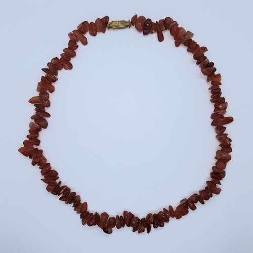 Carnelian Gemstone Chip Necklace 38cm