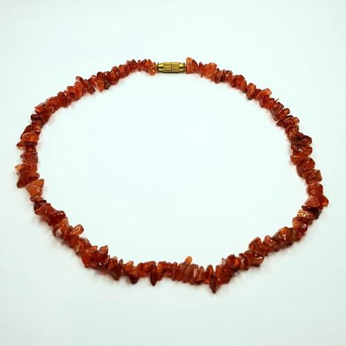Carnelian Gemstone Chip Necklace 40cm