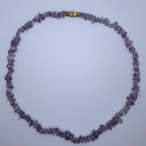 Amethyst Gemstone Chip Necklace 42cm
