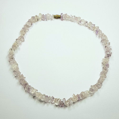 Amethyst and Clear Quartz Gemstone Chip Necklace 39cm