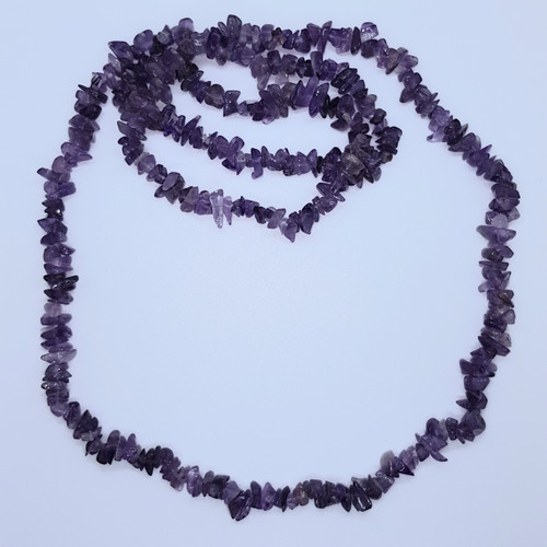 Amethyst Gemstone Chip Necklace No Clasp 90cm