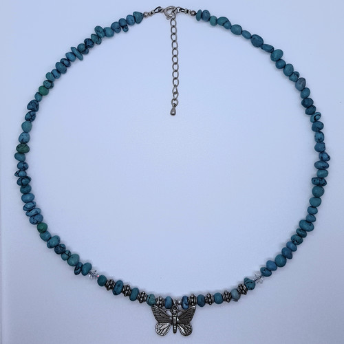 Howlite/Turquoise Butterfly Pendant Necklace 45cm
