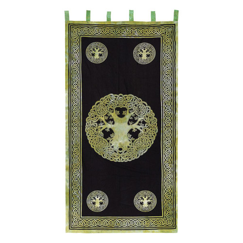 """Curtain (1) Tree of Life Green and Black 44"""" x 88"""" 100% Cotton"""