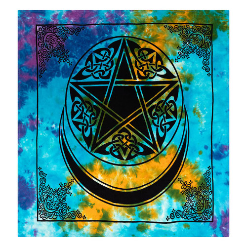 Altar or Tarot Cloth 90cm Pentacle and Crescent Moon Tie Dye