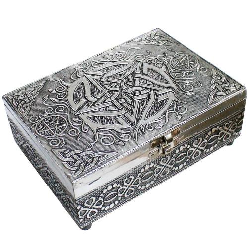 White Metal Pentacle Jewellery / Tarot Card Box