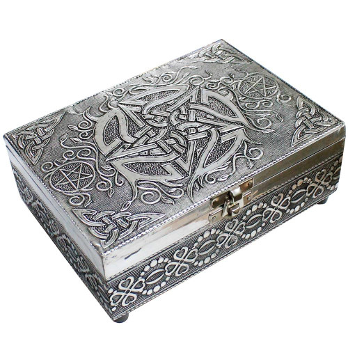 White Metal Pentacle Jewellery / Tarot Card Box