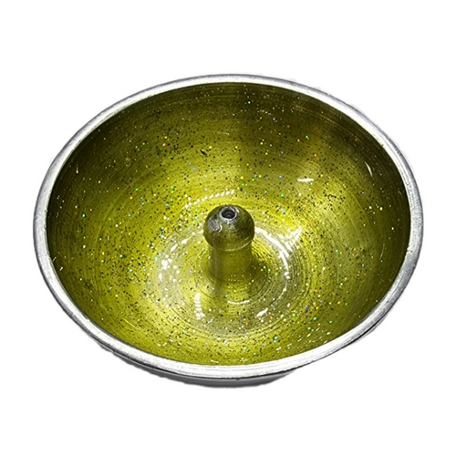 Aluminium Incense Dish Light Lime Green with Glitter Incense Holder