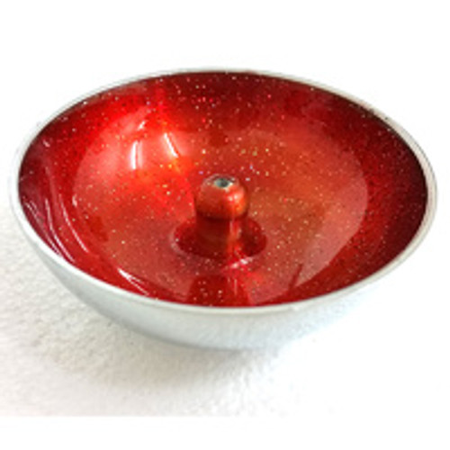 Aluminium Incense Dish Orange with Glitter Incense Holder
