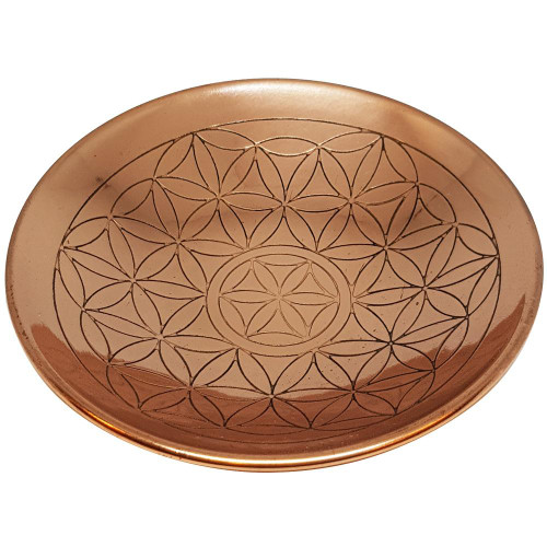 Flower of Life Copper Round Plate 15cm