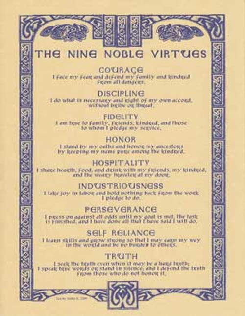 The Nine Noble Virtues Poster on Parchment A4
