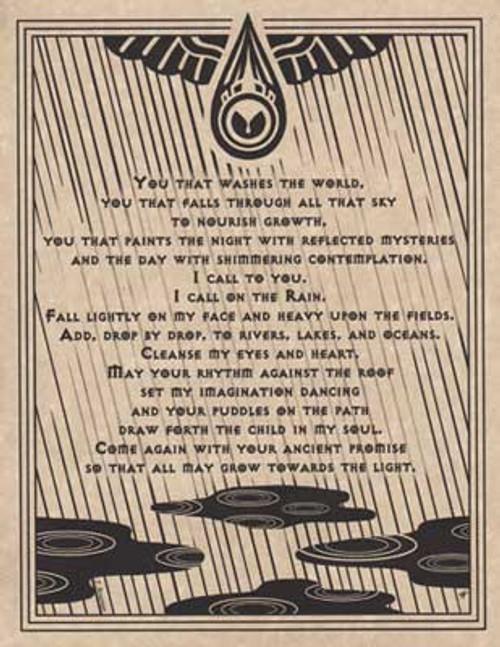 Rain Prayer Poster on Parchment A4