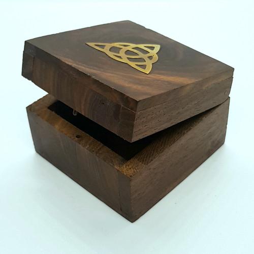 Triquetra Brass Inlay Wooden Trinket Box 6cm