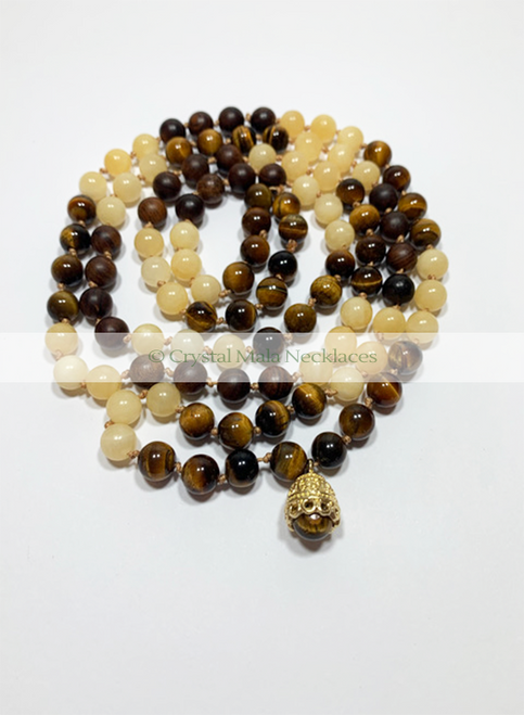 """Crystal Mala Necklace """"Eye of the Tiger"""" 104cm"""