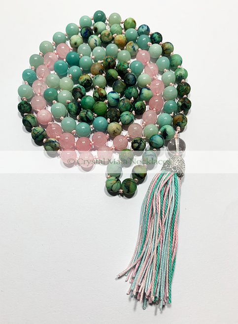 "Crystal Mala Necklace ""Treasure Chest"" 108cm"