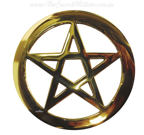 Brass Cut-Out Pentagram Altar Tile 11.5cm