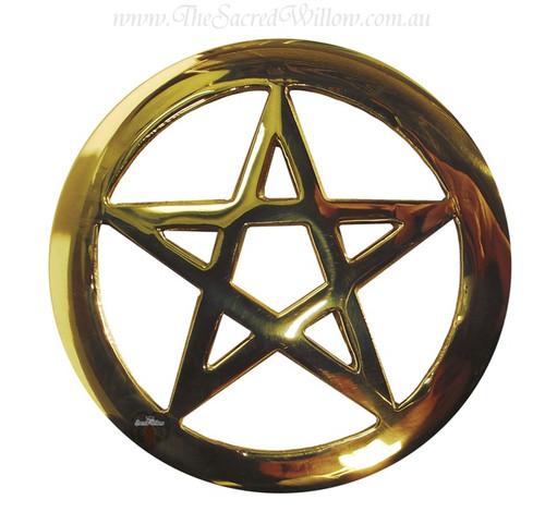 Brass Cut-Out Pentagram Altar Tile 11.5cm