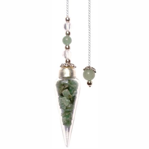 Pendulum Glass Teardrop with Green Aventurine Chips 27cm