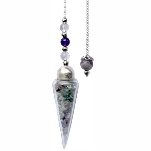 Pendulum Glass Teardrop with Flourite Chips 27cm