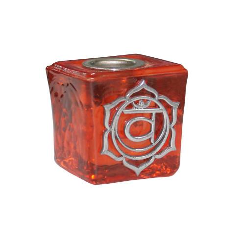 Chime Candle Holder Glass Orange Sacral Chakra 3cm x 3cm