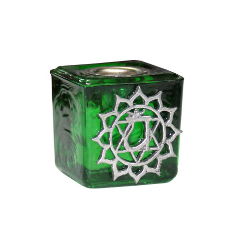 Chime Candle Holder Glass Green Heart Chakra 3cm x 3cm