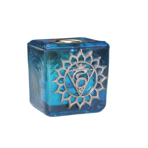 Chime Candle Holder Glass Light Blue Throat Chakra 3cm x 3cm