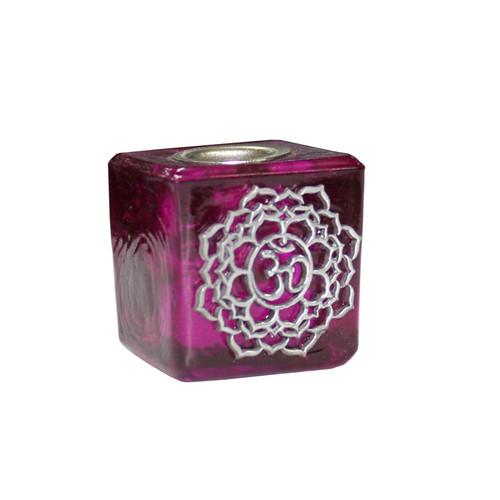 Chime Candle Holder Glass Purple Crown Chakra 3cm x 3cm