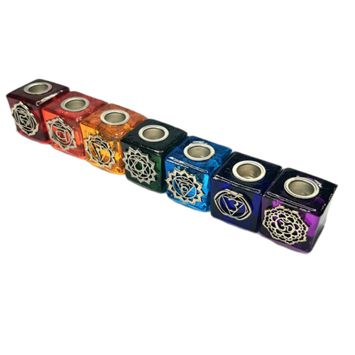Chime Wish Candle Holder Chakra Glass Set of Seven 3cm x 3cm