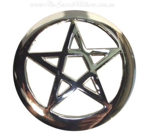 Silver Plated Pentagram Altar Tile 15.5cm